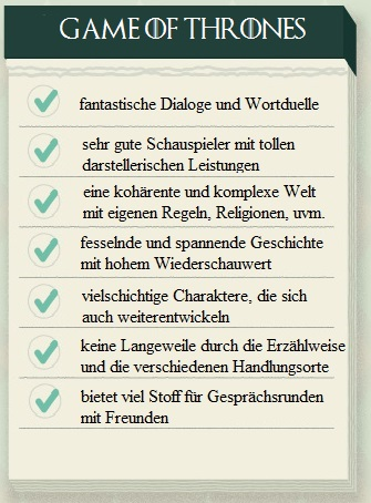 Checkliste - Game of Thrones