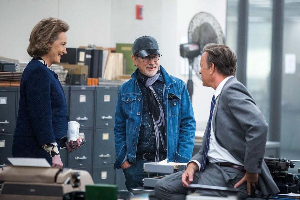 Tom Hanks, Meryl Streep und Steven Spielberg am Set von Die Verlegerin